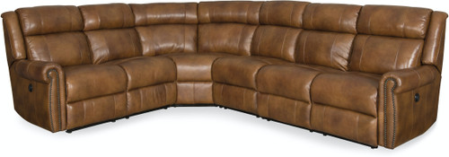 4-Piece Hooker Furniture Living Room Esme Sectional with 3 Power Recliner and Headrest - 1