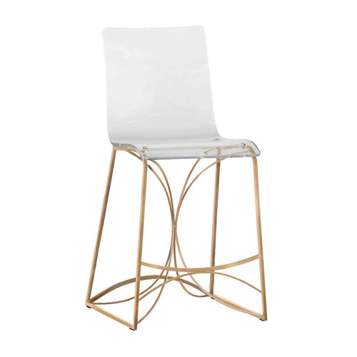 Angela Acrylic And Gold Counter Stool
