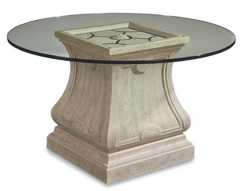 ART Furniture Arch Salvage - Leoni Round 54in Glass Dining Table, Paint - White -1