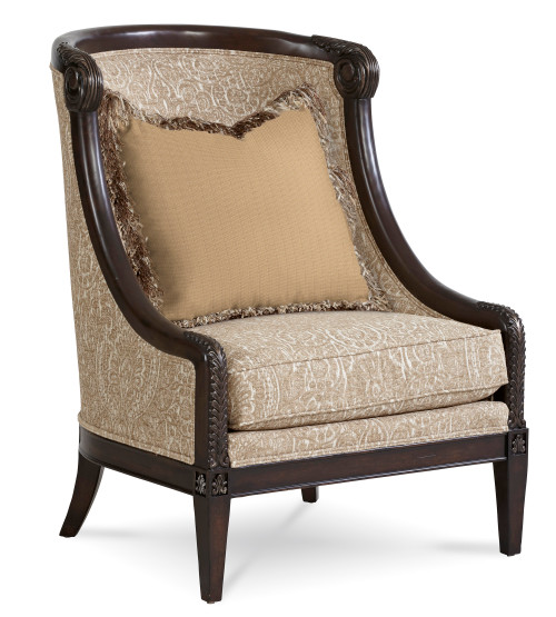 """ART Furniture Giovanna Azure - 46"""" Carved Wood Accent Chair, Silver -1"""