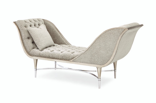 "Caracole 80"" Caracole Upholstery - Both Ends Meet, Soft Silver Leaf, Lightly Brushed Chrome-1"