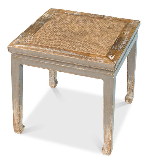 """19"""" Sarreid Square Dining Table and Stool with Rattan - 1"""