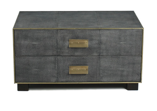 "18"" Sarreid Midnight Shagreen Low Chest - 1"