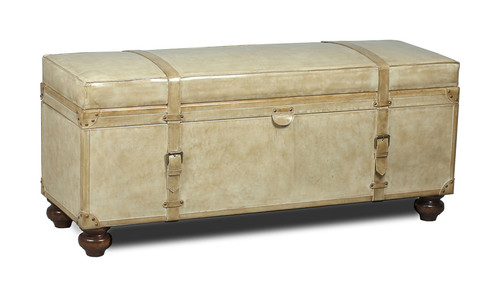"""20"""" Sarreid Leather Trunk Bedroom Bench - Pearl Leather - 1"""