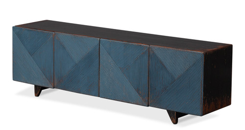 """22"""" Sarreid Low Wall Console Cabinet for TV - Blue - 1"""