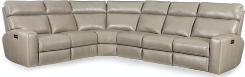 4-Piece Hooker Furniture Living Room Mowry Power Sectional with 3 Recline and Headrest - 1