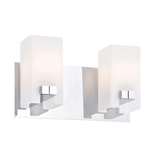 "11"" ELK Lighting Gemelo 2-Light Vanity Lamp in Chrome with White Opal Glass, Modern / Contemporary - 1"