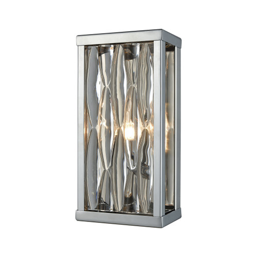 "10"" ELK Lighting Riverflow 1-Light Vanity Sconce in Polished Chrome with Stacked River Stone Glass, Modern / Contemporary - 1"