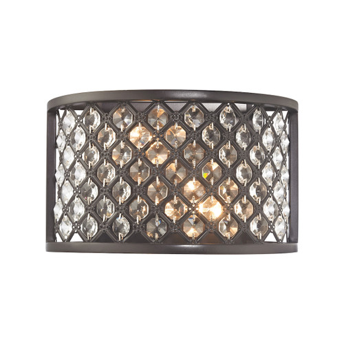 """10"""" ELK Lighting Genevieve 2-Light Sconce in Oil Rubbed Bronze with Crystal and Mesh Shade, Modern / Contemporary - 1"""