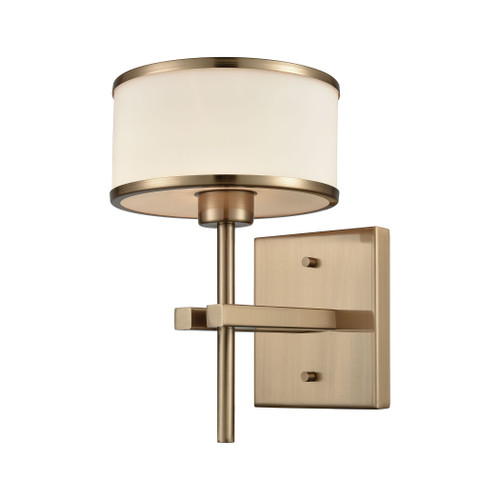 "10"" ELK Lighting Utica 1-Light Vanity Lamp in Satin Brass with Opal White Glass, Transitional - 1"