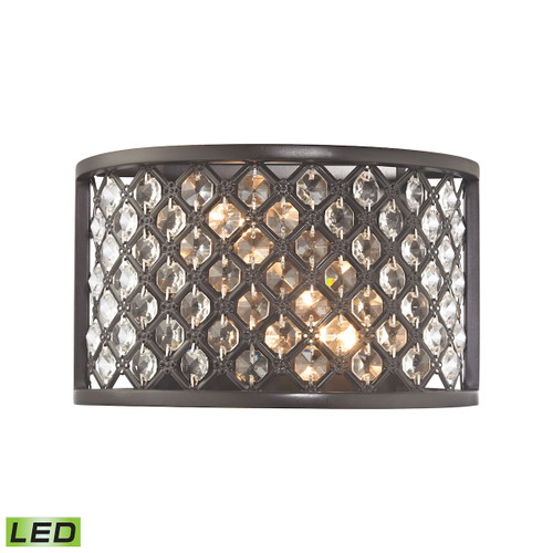 """10"""" ELK Lighting Genevieve 2-Light Sconce in Oil Rubbed Bronze with Crystal and Mesh Shade - Includes LED Bulbs, Modern / Contemporary - 1"""