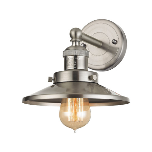 "10"" ELK Lighting English Pub 1-Light Vanity Lamp in Satin Nickel with Metal Shade, Transitional - 1"