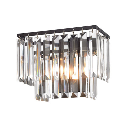 "10"" ELK Lighting Palacial 1-Light Vanity Sconce in Oil Rubbed Bronze with Clear Crystal, Traditional - 1"
