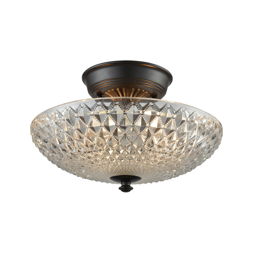"12"" ELK Lighting Sweetwater 2-Light Semi Flush in Oil Rubbed Bronze with Clear Crystal Glass, Traditional - 1"