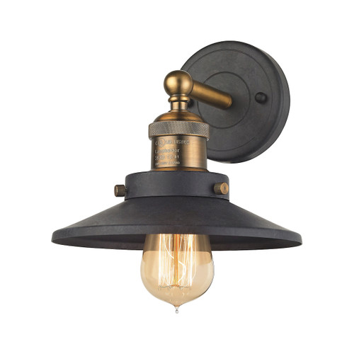 """10"""" ELK Lighting English Pub 1-Light Vanity Lamp in Antique Brass and Tarnished Graphite with Metal Shade, Transitional - 1"""