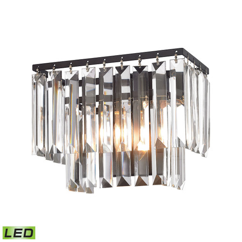 "10"" ELK Lighting Palacial 1-Light Vanity Sconce in Oil Rubbed Bronze with Clear Crystal - Includes LED Bulb, Traditional - 1"