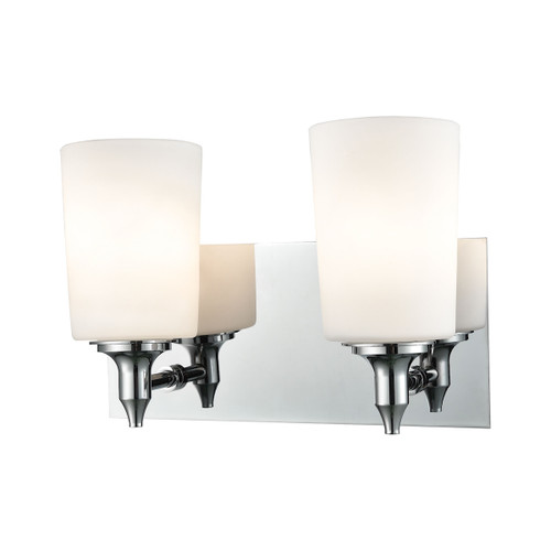 "11"" ELK Lighting Alton Road 2-Light Vanity Lamp in Chrome with Opal Glass, Transitional - 1"
