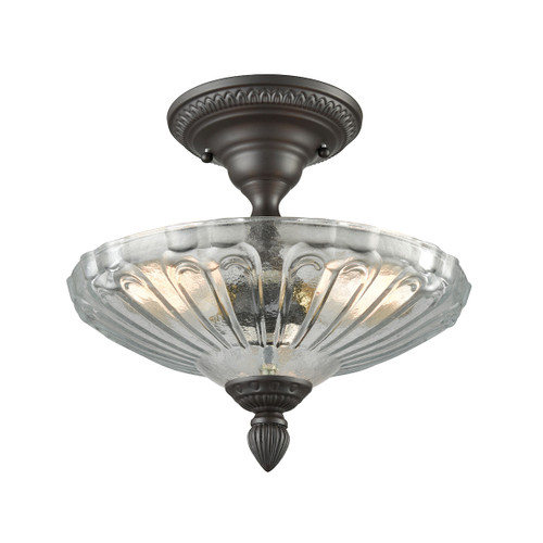 "12"" ELK Lighting Restoration 3-Light Semi Flush in Oil Rubbed Bronze with Clear and Frosted Glass, Traditional - 1"