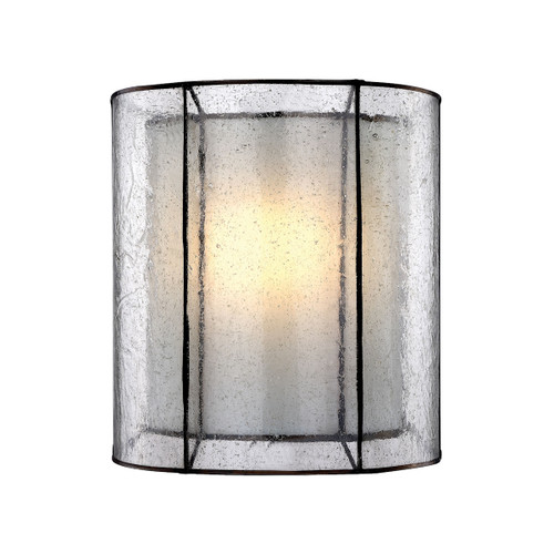 "10"" ELK Lighting Mirage 1-Light Sconce in Tiffany Bronze with Clear seedy and Off-white Art Glass, Transitional - 1"