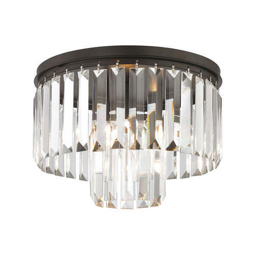 "12"" ELK Lighting Palacial 1-Light Semi Flush in Oil Rubbed Bronze with Clear Crystal, Traditional - 1"
