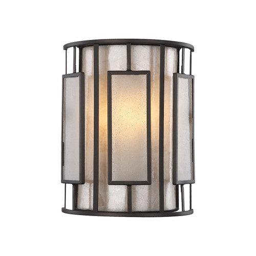 """10"""" ELK Lighting Minden 1-Light Sconce in Tiffany Bronze with Frosted Seedy Glass and Tan Mica Shade, Transitional - 1"""