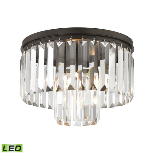 "12"" ELK Lighting Palacial 1-Light Semi Flush in Oil Rubbed Bronze with Clear Crystal - Includes LED Bulb, Traditional - 1"