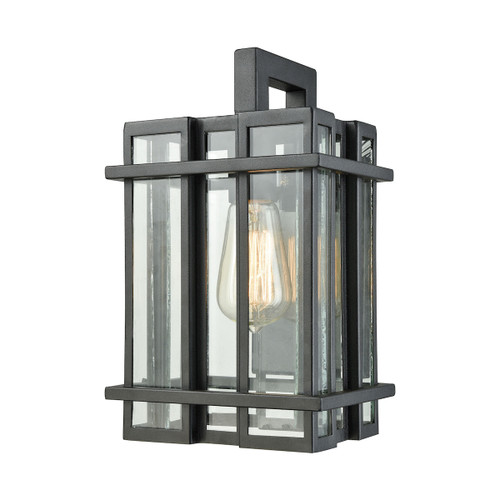 "12"" ELK Lighting Glass Tower 1-Light Outdoor Sconce in Matte Black, Transitional - 1"