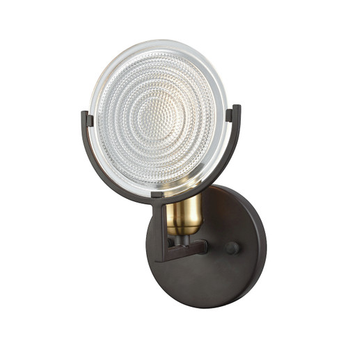 "10"" ELK Lighting Ocular 1-Light Vanity Lamp in Oil Rubbed Bronze and Satin Brass with Clear Railroad Glass, Modern / Contemporary - 1"