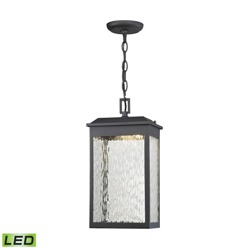 "16"" ELK Lighting Newcastle 1-Light Outdoor Pendant in Textured Matte Black - Integrated LED, Transitional - 1"