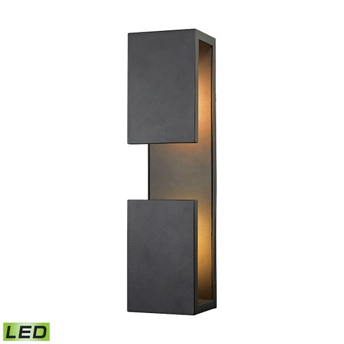 "19"" ELK Lighting Pierre 1-Light Outdoor Sconce in Textured Matte Black - Integrated LED, Modern / Contemporary - 1"