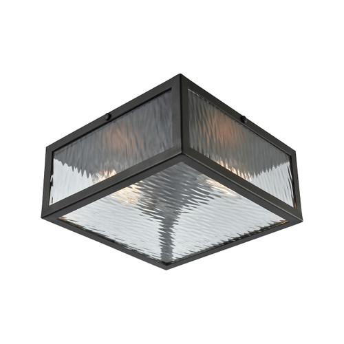 """11"""" ELK Lighting Placid 2-Light Flush Mount in Oil Rubbed Bronze with Clear Ripple Glass, Modern / Contemporary - 1"""