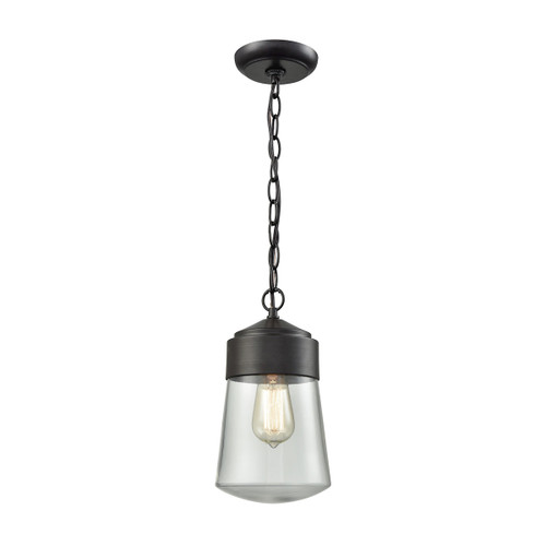 "12"" ELK Lighting Mullen Gate 1-Light Outdoor Pendant in Oil Rubbed Bronze, Transitional - 1"