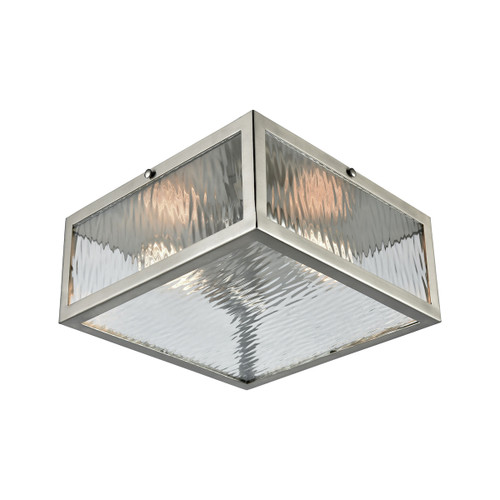 """11"""" ELK Lighting Placid 2-Light Flush Mount in Satin Nickel with Clear Ripple Glass, Modern / Contemporary - 1"""