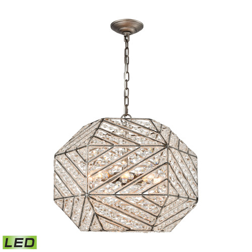 "20"" ELK Lighting Constructs 8-Light Chandelier in Weathered Zinc with Clear Crystal - Includes LED Bulbs, Modern / Contemporary - 1"