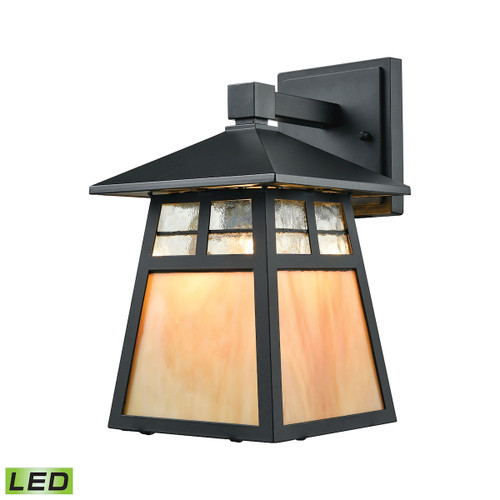 "11"" ELK Lighting Cottage 1-Light Outdoor Wall Lamp in Matte Black - Includes LED Bulb, Traditional - 1"