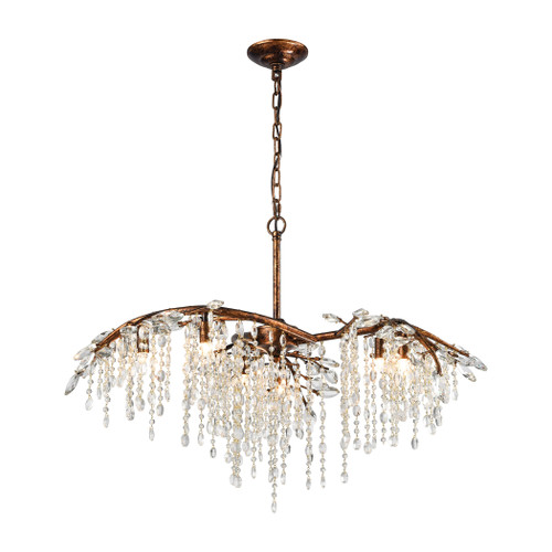 "32"" ELK Lighting Elia 6-Light Chandelier in Spanish Bronze with Clear Crystal, Traditional - 1"