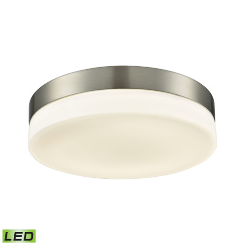 """11"""" ELK Lighting Holmby 1-Light Round Flush Mount in Satin Nickel with Opal Glass Diffuser - Integrated LED - Large, Modern / Contemporary - 1"""