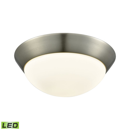"""11"""" ELK Lighting Contours 1-Light Flush Mount in Satin Nickel with Soft Opal Glass - Integrated LED - Medium, Modern / Contemporary - 1"""