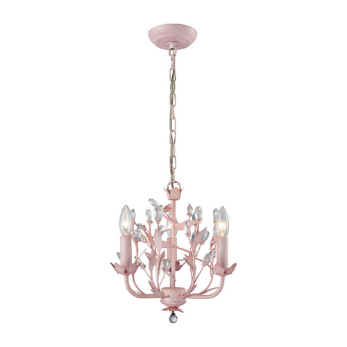 """13"""" ELK Lighting Circeo 3-Light Chandelier in Light Pink with Crystal, Traditional - 1"""
