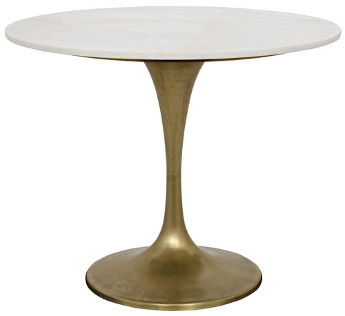 "QS Laredo Table, 36"", Antique Brass, White Marble Top"