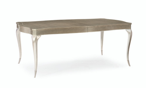 "Caracole 78"" Avondale - Rectangle Dining Table, Elegant Linen, Soft Silver Leaf, Soft Silver Paint-1"