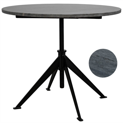 Matilo Adjustable Table, Metal base with Marble Top