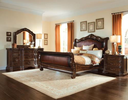 "ART Furniture Valencia - 86"" 6/6 Uph. Sleigh Bed FB, Dark Oak -1"