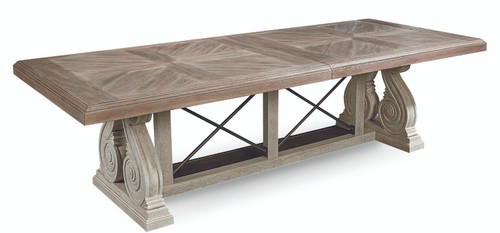 """ART Furniture Arch Salvage - 86"""" Pearce Dining Base - Cirrus, Paint - White -1"""