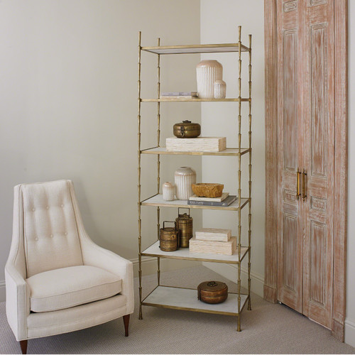 """80"""" Global Views Spike Etagere - Antique Brass with White Marble - 1"""