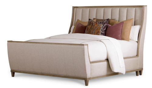 "ART Furniture Cityscapes - 71"" 5/0 Chelsea Uph Shelter Sleigh Bed FB, Sandstone -1"