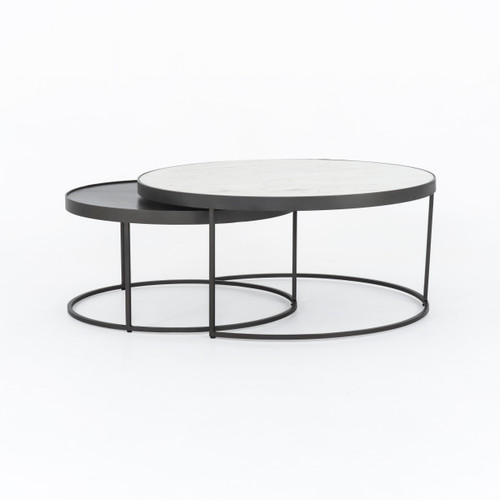 "16"" Four Hands Evelyn Round Nesting Coffee Table - 1"