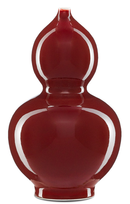 """13"""" Currey and Company Oxblood Small Double Gourd Vase - 1"""
