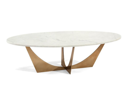 """60"""" John Richard Marble and Brass Cocktail Table - 1"""