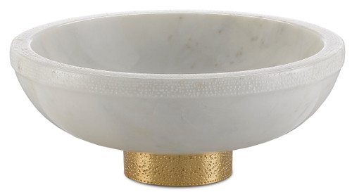 """12"""" Currey and Company Valor Large White Bowl - 1"""